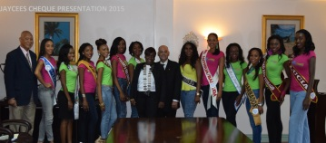 Caribbean delegates in this year's JCI Queen Show are welcomed to Antigua and Barbuda by Minister of Tourism, The Hon. Asot Michael