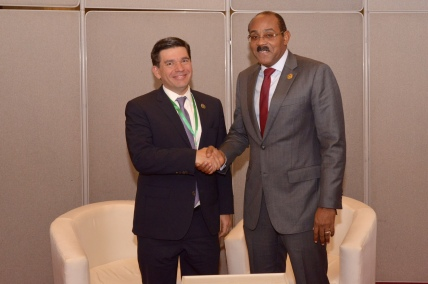 PM Browne with the Deputy Minister of Finance of Mexico Fernando Aportela